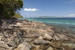 Rocky shore of island. Philippines Royalty Free Stock Photos