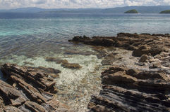 Rocky shore of island. Philippines Stock Images