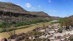 Rio Grande River on the Mexican and United States Border. Rocky shore and jagged cliffs along the Rio Grande river that shows the Mexico and United States Border royalty free stock photos