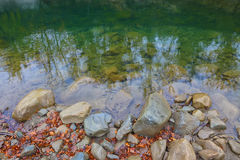 Rocky shore of the lake. Autumn time. Reflections in water Royalty Free Stock Image