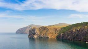 Rocky shore of Lake Baikal. Time lapse. 4K stock video footage