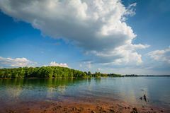 Rocky shore of Lake Norman, at Jetton Park, in Cornelius, North Royalty Free Stock Images