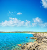Rocky shore with Lazzaretto beach in the background Stock Photography