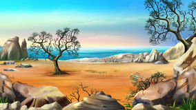 Rocky Shore with Lonely Tree Against Blue Sky. In a Summer Day. Digital Painting Background, Illustration in cartoon style character Stock Photo