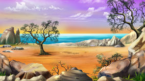 Rocky Shore with Lonely Tree. Against the Dawn sky in a Summer morning. Digital Painting Background, Illustration in cartoon style character Stock Images