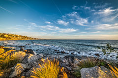 Rocky shore in Malibu Stock Photography