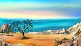 Rocky Shore med det ensamma trädet mot blå himmel på gryning Arkivbilder