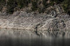 Rocky shore of a mountain lake. Close up stock image