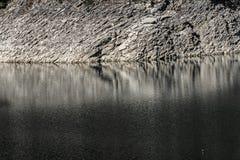 Rocky shore of a mountain lake. Close up stock photography