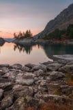 Rocky Shore Of The Mountain Lake On Sunset, Altai Mountains Highland Nature Autumn Landscape Photo Royalty Free Stock Image