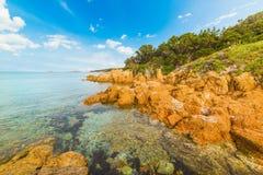 Rocky shore in Piccolo Pevero beach. Sardinia Royalty Free Stock Images