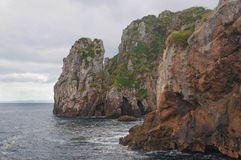 Rocky shore of Poor Knights Islands. Tutukaka Coast, New Zealand royalty free stock photography