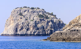 Rocky shore. Rhodes Island. Greece Royalty Free Stock Photos