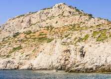 Rocky shore. Rhodes Island. Greece Stock Image