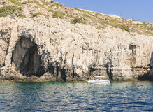 Rocky shore. Rhodes Island. Greece Royalty Free Stock Photography