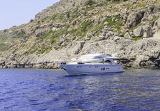 Rocky shore. Rhodes Island. Greece Stock Photos