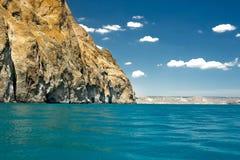 Rocky shore sea cliffs stock image