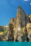Rocky shore sea cliffs. In Crimea Karadag Royalty Free Stock Image