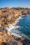 Rocky shore of the Spanish island Mallorca. Rocky shore of the Spanish island Mallorca, Europe Royalty Free Stock Photo
