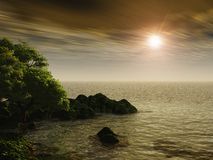 Rocky Shore at Sunset Royalty Free Stock Image
