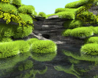 Rocky shore of a tropical lake with lush vegetation Royalty Free Stock Photography