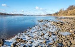 The rocky shore of the Volga river. Sloping rocky shore of the Volga river near the town of Tutaev, Yaroslavl region Royalty Free Stock Photos