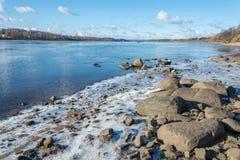 The rocky shore of the Volga river. Sloping rocky shore of the Volga river near the town of Tutaev, Yaroslavl region Royalty Free Stock Photo