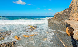 Rocky shore with waves Royalty Free Stock Image