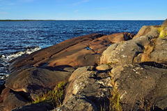 Rocky shore of the White sea. Karelia, Russia Stock Photos