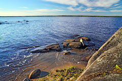 Rocky shore of the White sea. Karelia, Russia Stock Images