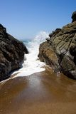 Rocky Shoreline. A view of the Pacific Ocean near the Golden Gate Bridge in San Francisco, CA Stock Image