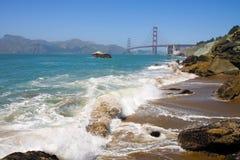 Rocky Shoreline. A view of the Pacific Ocean near the Golden Gate Bridge in San Francisco, CA Stock Photo