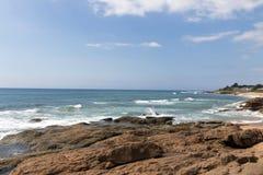 Rocky Shoreline Against Ocean Sky Coastal Landscape Royalty Free Stock Photography
