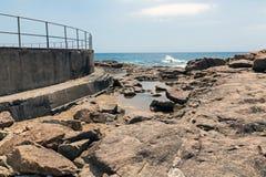 Rocky Shoreline Against Ocean Sky Coastal Landscape Royalty Free Stock Images