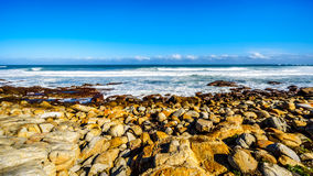 The rocky shoreline of the Atlantic Ocean between Cape of Good Hope and Platboom Beach Stock Photos