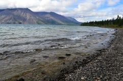 Rocky Shoreline av Kathleen Lake i det Yukon territoriet, Kanada Arkivfoto