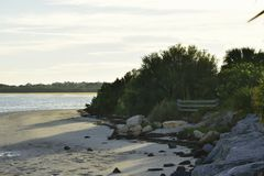 Rocky shoreline at the beach. On the Gulf of Mexico Stock Photography