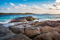 Rocky shoreline. A granite beach at Esperance Stock Images