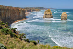 Rocky shoreline on the Great Ocean Road, Australia. Rocky shoreline and eroded rock formations at the Twelve Apostles on the Great Ocean Road, Victoria Stock Image