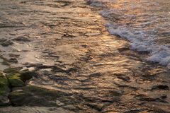 Rocky Shallow Water at Sunset Stock Photos