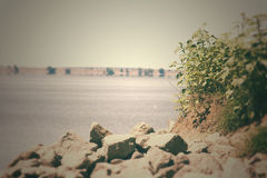 Rocky Shoreline At The Lake. An aged photo of a rocky shoreline along a wide lake. The image has been altered to appear older and more faded than it actually is Royalty Free Stock Photos