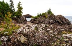Rocky shoreline at Lake Superior Royalty Free Stock Image