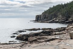 Rocky shoreline near Otter Cliff in Acadia National Park Stock Images