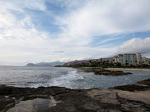 Rocky shoreline next to lagoon at Ko Olina Royalty Free Stock Photos