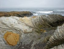 Rocky Shoreline. At Montana de Oro State Park, Los Osos, California Royalty Free Stock Image