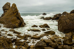 Rocky Shoreline. Section of the jagged rocky shoreline of Laguna Beach, California Stock Photo