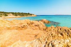 Rocky shoreline in Spiaggia del Principe. Beach, Costa Smeralda Royalty Free Stock Images
