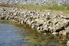 Rocky shoreline by a stream Royalty Free Stock Images