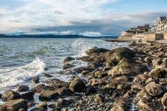 Rocky Shoreline 3. A veiw of the rocky shoreline in West Seattle, Washington Stock Photos