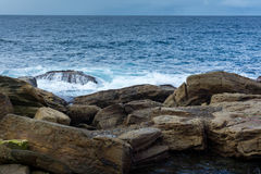 Rocky shores of Coogee Beach, Sydney Australia. Rocks along the shoreline of Coogee Beach in Sydney, Australia Royalty Free Stock Image